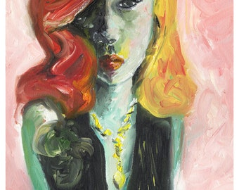 Art Print - Portrait of girl with red and yellow hair