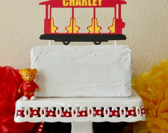 Personalized Daniel Tiger Inspired Trolley Cake Topper