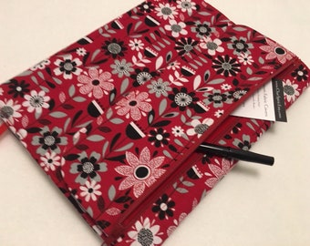 Composition Notebook Cover, Black & Red Floral