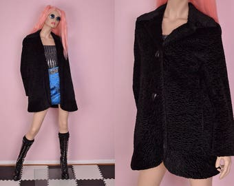 90s Black Faux Persian Lamb Fur Coat/ US 6/ 1990s/ Jacket