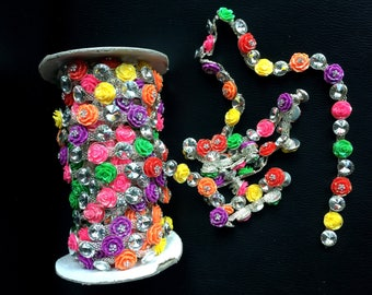 Multi Color Roses Crystal Rhinestone Banding Trim Strand  - Trim Chain Roll Decoration ships from USA-