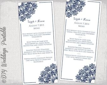 "Wedding menu template - DIY navy wedding menu ""Lace Doily"" digital printable menu - Boho Editable menu template - download"