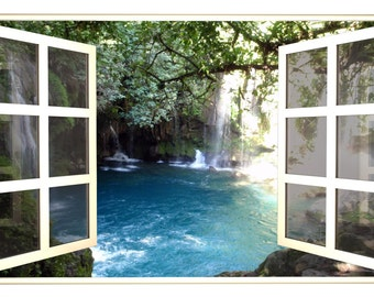 Waterfall 3D Window Hidden Cove Wall Decal Sticker Mural Open Closed Fake  Frame Instant View Bedroom