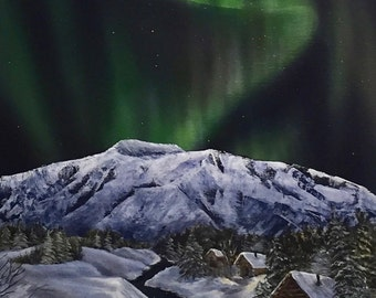 """Limited Edition Giclee - Northern Lights Yukon Cabin Scene -""""The Lights are Out"""""""