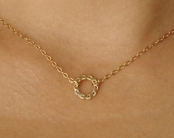 Twisted Circle Necklace Small Circle Necklace Gold Filled, Sterling Silver Hammered Circle Simple Everyday Layering Necklace