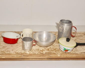 Childrens toy cookware,play kitchen utensils,toy kitchen pots and pans,7 pieces,miniature cookware,toy coffee pot,play measuring cup,pretend