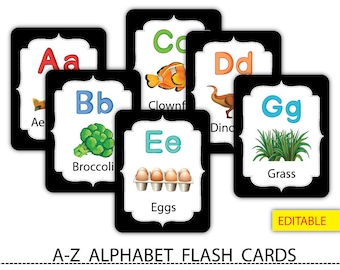 ABC alphabet card printables,Nusery alphabet,Alphabet flash card,Printable,Instant download #FC001
