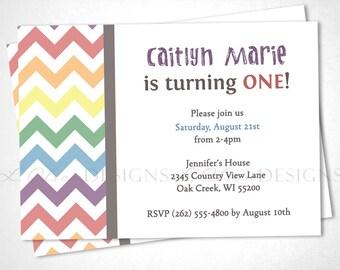 Rainbow Chevron Birthday Invitation