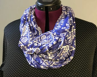 Infinity Scarf Jersey Knit. Beautiful Blue and white rich color. Handmade
