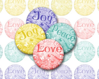 Peace Love Joy Printable 1-Inch Circles / Bottlecap Images for Pendants, Cabochons / Digital Collage / Swirly pastels / Instant Download