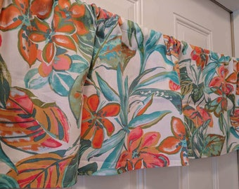 Fiesta colors aqua and orange flower curtain Valance