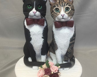 Custom Made Clay Dog Cat Wedding Cake Topper Sculpture Tabby Cat Tuxedo Cat flowers Groom's Cake Engagement Party