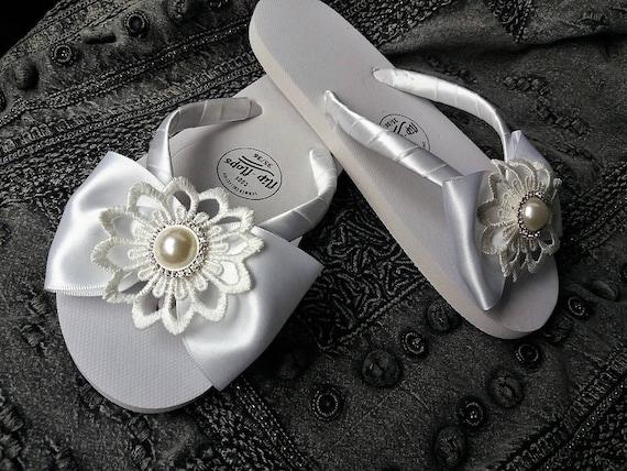 8baf82d32c8d5c Bridal Flip FLops Wedding Sandals Chic Sandals Beach