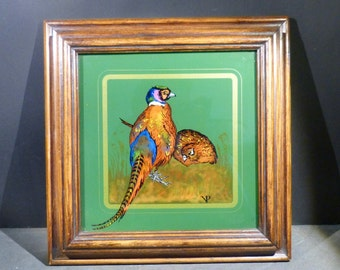 Glass painting, 10.5'' inches, Pheasant Pair, colorful, traditional art, Austria, hand painted, Hunting,