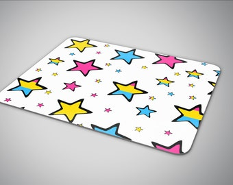 Pansexual Pride flag in stars mouse pad