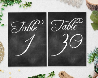 Table Numbers 1-30 // Instant Download // Printable // chalkboard // 5x7 // 4x6 // wedding // bridal shower // #PBP93