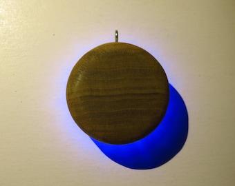 "LED Solar Eclipse Pendant - 2"" diameter poplar STAINED light-up necklace"