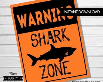 Shark Birthday Party Printable SHARK ZONE Sign by Fara Party Design |Shark Under the Sea Party |Boy Birthday | SharkZone | Welcome Sign