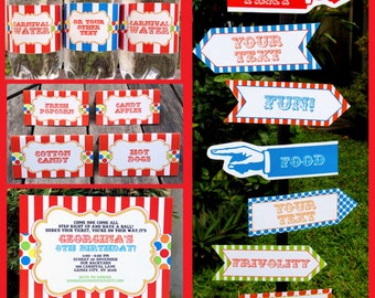 Carnival Invitations & Decorations - full Printable Package - Carnival Party - INSTANT DOWNLOAD with EDITABLE text - you personalize at home