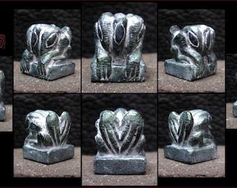 Metallic Green Stone Hydra Figure - Strange Creature Idol - Hand Carved miniature Cast in Resin