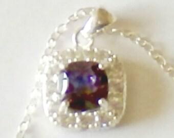 Vintage Sterling CZ Mystic Topaz Pendant Necklace