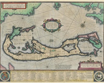 Ancient map of Bermuda, 1633, antique map, fine art print