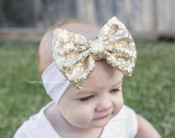 Baby girl headbands, gold bow headband, sequin bow headwrap, sparkle bow headband, baby head wrap, baby bows, white baby headbands