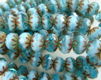 Czech Beads, 6x9mm Cruller, Czech Glass Beads - Aqua and Baby Blue Glass Beads (CR9/N-0440) - Qty 12