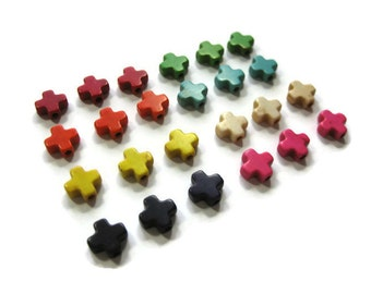 Extra Small 8mm Howlite Cross Beads Set of 24