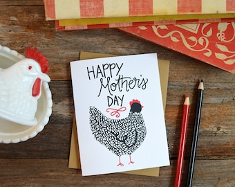 Happy Mother's Day, Mother Hen, Chicken Mama, Mother's Day Card, Greeting Card, Hand Drawn, Mom, Mama, Momma, Farmhouse, farm mom, mama hen