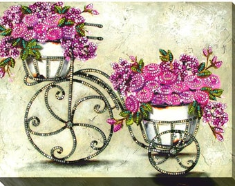 """DIY Bead embroidery kit """"Vintage flowers 3"""",  beaded stitching, room wall decor, housewarming gift idea craft set, FREE Shipping"""