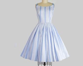 1950s Striped Cotton Sundress |  Small (34B/26W)