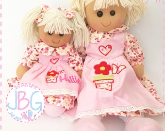 Personalised Rag Doll, Custom Rag Dolls, Embroidered Dolls, New baby girls gift, birthday or baby shower gift, baby girl