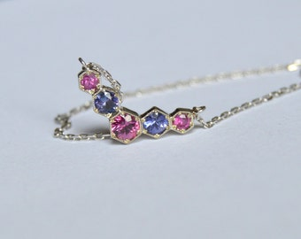 White Gold Eternity Necklace, 14 kt gold necklace, bar eternity necklace, sapphire necklace, birthstone necklace,
