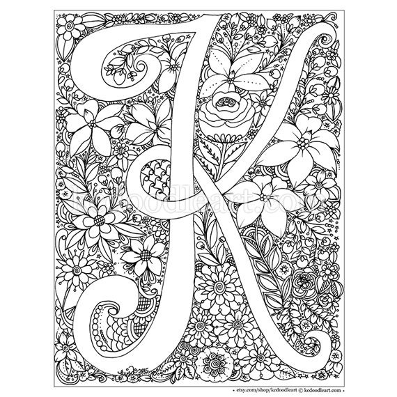 Instant Digital Download Adult Coloring Page Letter K