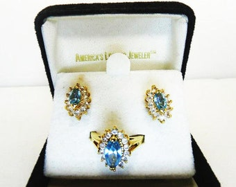 Crystal Aquamarine Ring And Pierced Earring Set, Ladies Size 6 Ring
