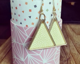 """Pastel yellow leatherette """"golden Spice"""" collection gold foil metallic leather earrings"""