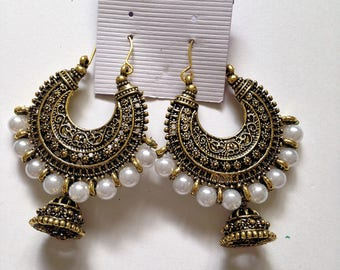 Gold Oxidized Indian White Pearl Earrings Jhumki ,Antique Gold Jhumka Earring