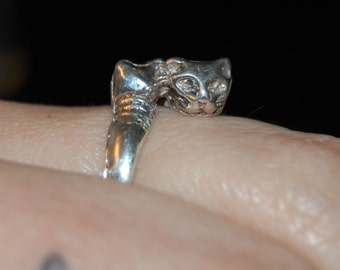 Vintage Sterling Silver Kittys Double Trouble Duo Cats Climbing Wrap Around Ring 925
