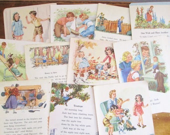 Vintage Children's Book Paper 1936-1949 Children's Illustrated Elementary School Reading Books 20 Pages of Vintage Images Paper Ephemera