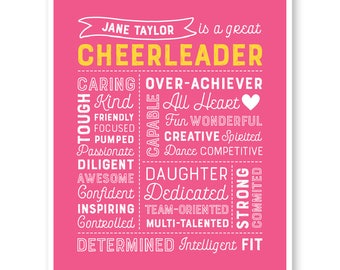 Cheerleading Gift, Gift for Cheerleaders, Cheer Team Gift, Cheerleading Print, Cheerleader Custom Print, Personalized Cheerleader Print