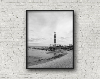 LighthouseBeach Druck Digital Download / Fine-Art Print / Kunst / Home Decor / schwarz-weiß Fotografie / Reisefotografie