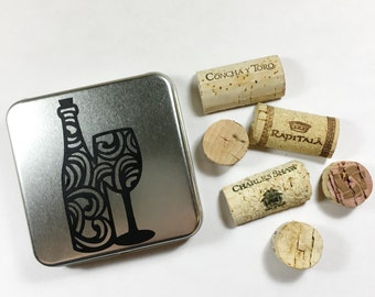 Natural Wine Cork Magnets, Wine Party Favors, Upcycled Wine Cork Magnets, Wine Cork Crafts, Wine Hostess Gift, Wine Cork Fridge Magnets
