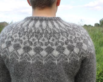 Two tone sweater made of pure Icelandic wool in gray. All sizes MADE TO ORDER.