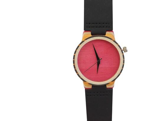 7PLIS watch #016 Recycled SKATEBOARD #madeinfrance fuchsia orange black blue wood