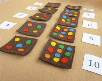 Chocolate Brownie Counting Set, Felt Busy Bag, Kids Counting Toy, Child's Number Game, Montessori Playset, Felt Playmat
