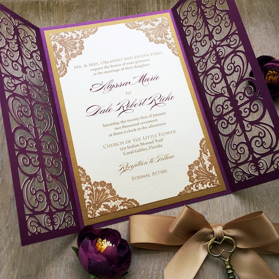 ALYSSA - Gold and Plum Laser Cut Wedding Invitation - Purple Shimmer Laser Cut Gatefold Doors w/ Gold Ribbon and Bronze Key