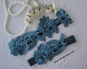 Teal Blue Wedding Garter, Garter, Bridal Garter, Blue Lace Garter, Bridal Garter Set, Something Blue, Wedding Garter Blue, Lace Garter Set