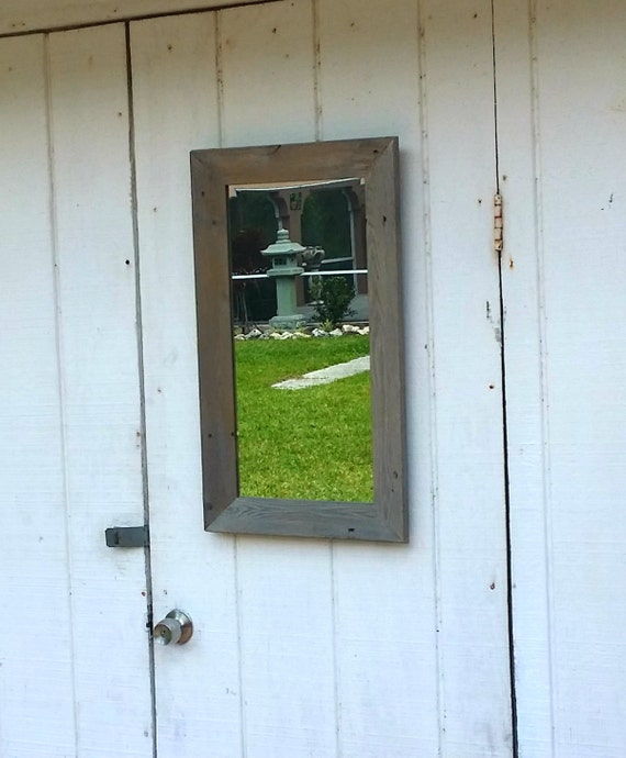 How To Hang A Bathroom Mirror On The Wall: Rustic Mirror Bathroom Vanity Beach Cottage Chic Wall Hanging