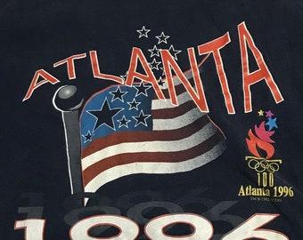 Atlanta 1996 Olympics Vintage Navy Short Sleeve Cotton Graphic T-Shirt XL